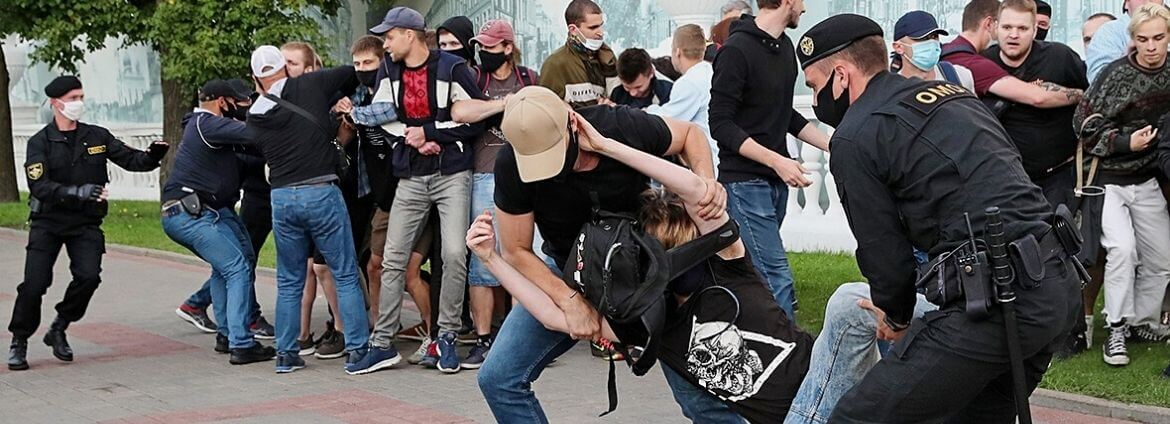 The use of weapons by Belarusian law enforcement agencies to disperse peaceful protests